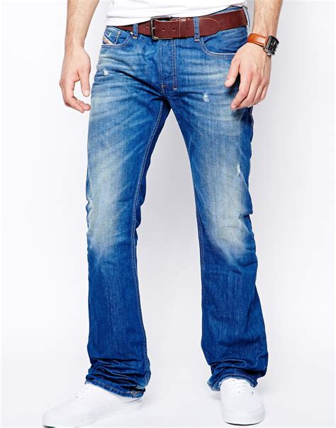 light blue wash jeans mens diesel jeans zatiny 823u bootcut light wash in blue for