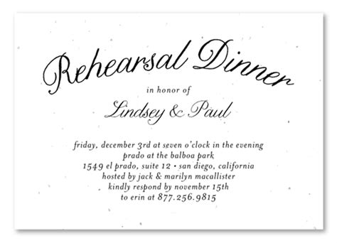 plantable rehearsal dinner insert cards on seeded paper