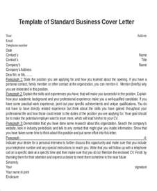 standard covering letter business letter formats