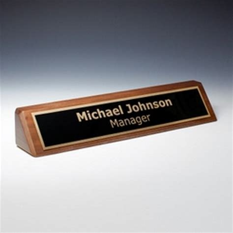 personalized name plates on walnut desk wedge