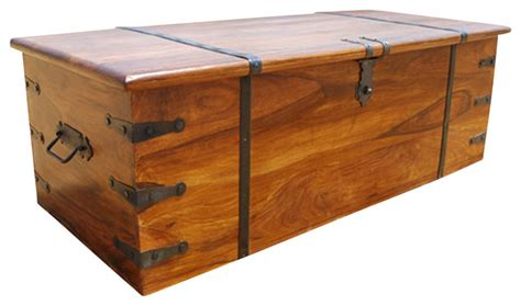 Large Rustic Solid Wood Storage Trunk Coffee Table Chest Modern Trunk Coffee Table