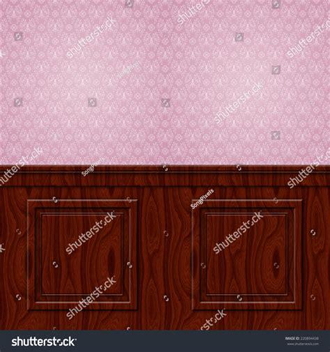 Mahogany Wainscoting Panels Interior Wall Damask Wallpaper Mahogany Wood Wainscoting
