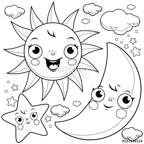 cute sun coloring page quot cute sun moon stars and clouds black and white