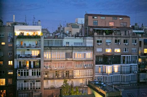 apartments at dusk in barcelona spain entouriste