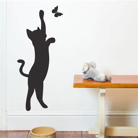 cat wall sticker cat and butterfly wall sticker by nutmeg