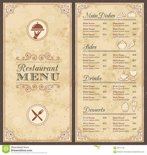 vintage menu template vintage restaurant menus www imgkid the image kid