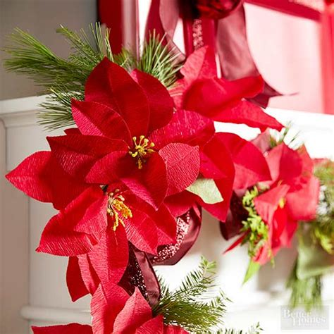how to make a paper poinsettia garland