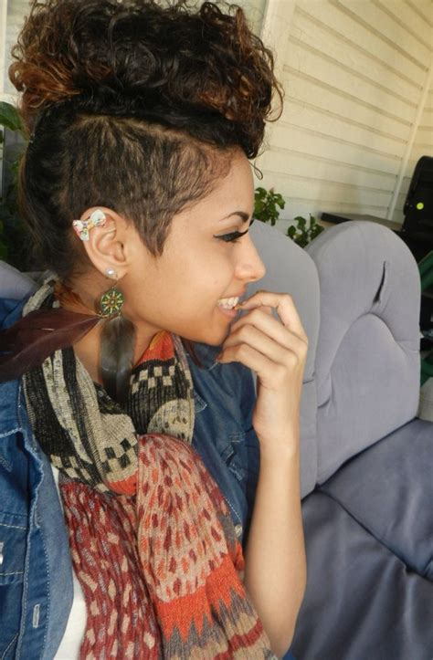 imitate half shaved look with braids interesting trend half shaved curly mohawk hairstyles for
