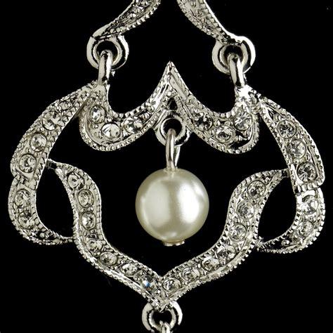 Rhinestone Chandelier Earrings Infinity Rhinestone Pearl Chandelier Earrings Bridal Hair Accessories