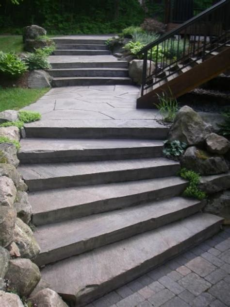 Unilock Georgetown These Granite Steps Join The Deck Stairs And Transition