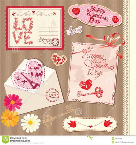 valentines day postcards set of vintage valentines day postcards stock images