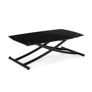 table basse relevable en verre noir 120cm kony tables