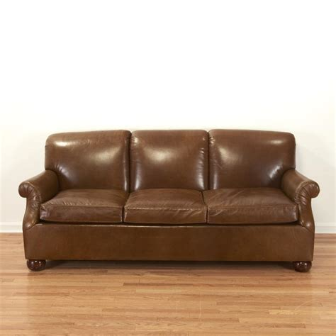 ralph lauren style brown leather sofa