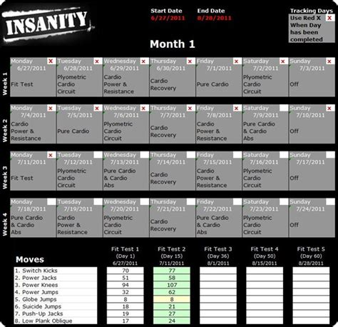 insanity workout schedule new calendar template site