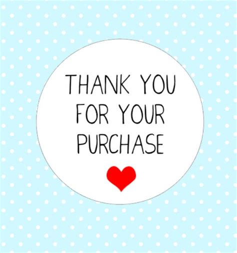 thank you sticker template 50x thank you for your purchase stickers cut order