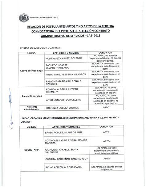 relacin de postulantes aptos para el proceso de contrato tercer cas 2015 relaci 243 n de postulantes aptos y no aptos