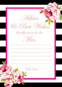 Bridal Shower Advice Cards Template by Free Template For Bridal Shower Advice Cards Wedding