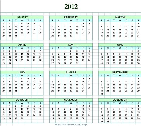 printable yearly calendars 2012 image gallery 2012 printable calendar