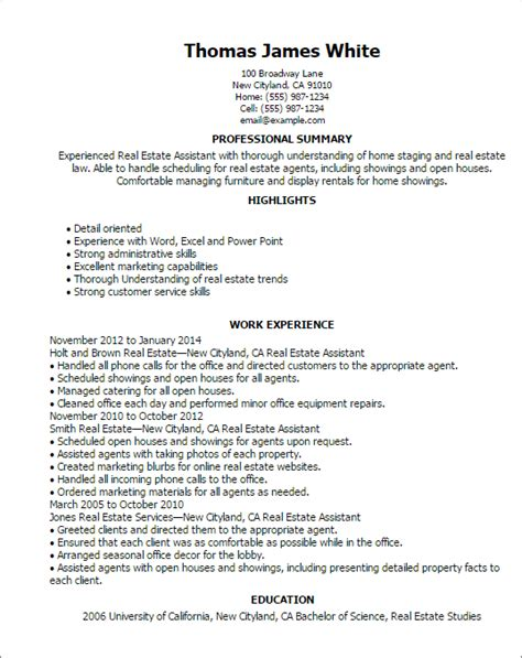 real estate assistant resume 28 images sle assistant