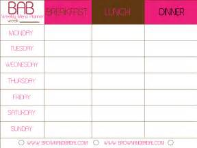 food calendar template weekly menu template
