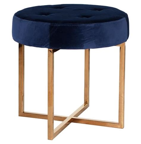 ottoman stools charlize hollywood regency navy blue velvet tufted gold