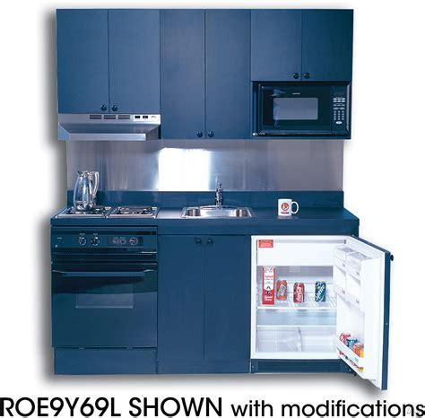 Acme ROE9Y69SC Compact Kitchen with Solid Surface Countertop, 2 Electric Burners, Oven, Sink and