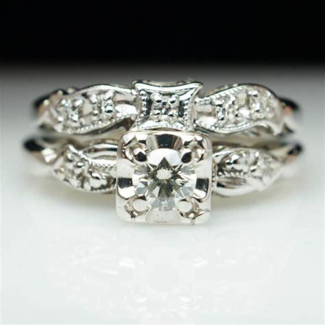 deco wedding ring set vintag deco engagement ring wedding band bridal set deco ring jewelry vintage
