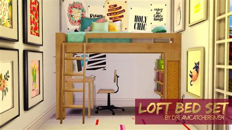 4 bed bunk bed loft bed set at dreamcatchersims4 187 sims 4 updates