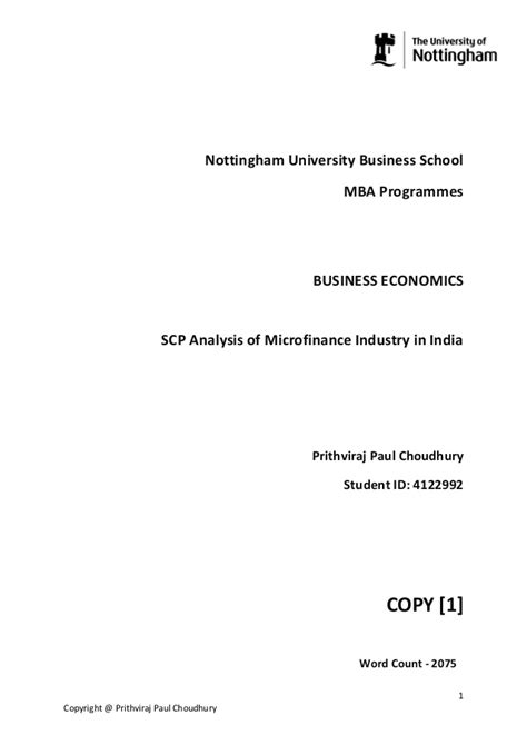 Business Anlytics Mba In India by S C P Analysis Of Microfinance Industry In India