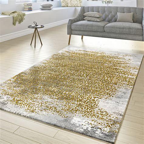 teppich gelb grau designer teppich wohnzimmer kurzflor teppich florale