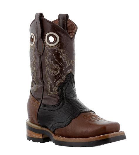 Country Boots Original Handmade Brown Black boys youth brown black real leather western cowboy boots square toe ebay