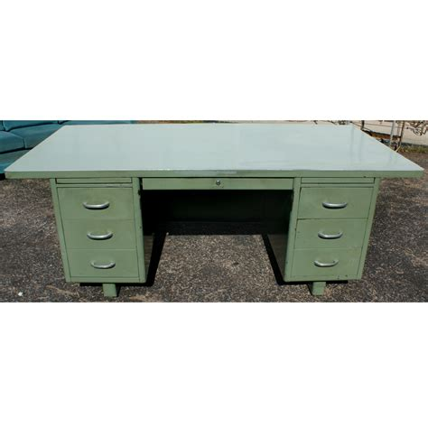 vintage industrial metal desk 76 quot bentson vintage industrial age metal desk