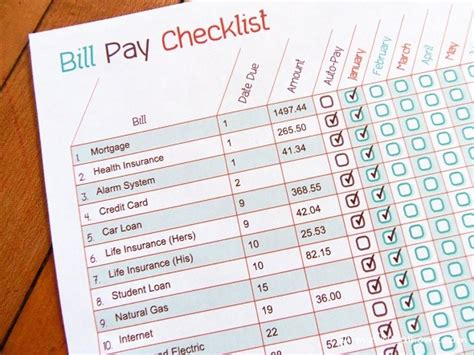 list of bills to pay template printable bill pay checklist