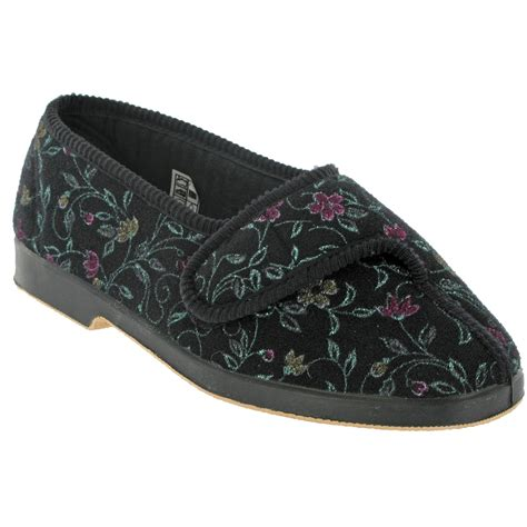 slippers for wide gbs wilma womens wide fit floral slipper shoes