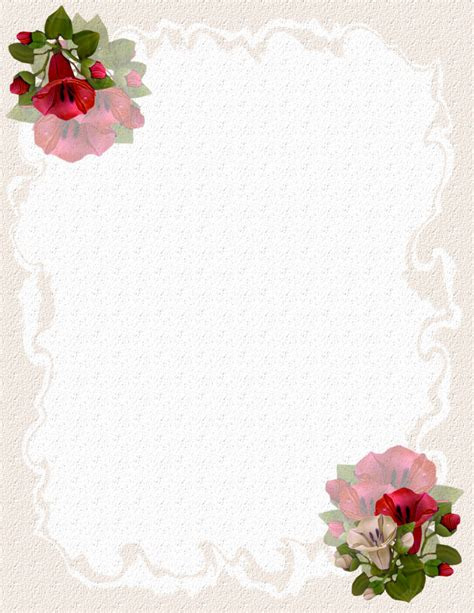 Floral Stationery Template Floral Stationery Theme Free Page 2