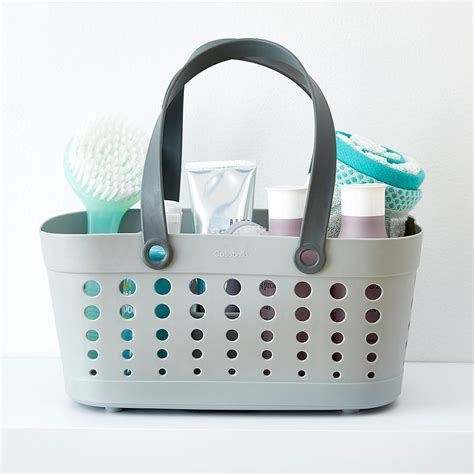 Bathroom Shower Baskets Shower Tote Grey Shower Tote By Casabella The Container Store