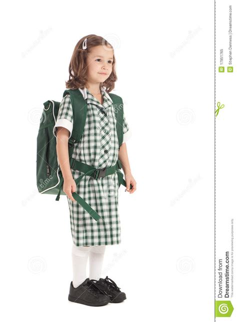 school girl uniform stock photos pictures royalty free school girl in uniform with backpack royalty free stock