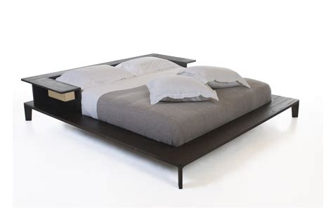 Flat Platform Bed Furniture Brown Wooden Flat Platform Bed Frame With Rectangle Bench Also Orange Bed Sheet Also