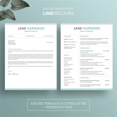resume template free creative modern cv word cover in 93
