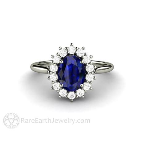 Blue Sapphire Ring V blue sapphire and wedding ring oval cut halo