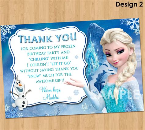 Frozen Thank You Card Template by Printable Frozen Thank You Notes Invitations Ideas