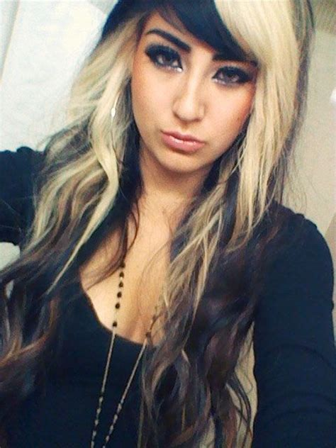 two toned hairstyles blonde underneath allison green hair two tone 2 blonde on top black