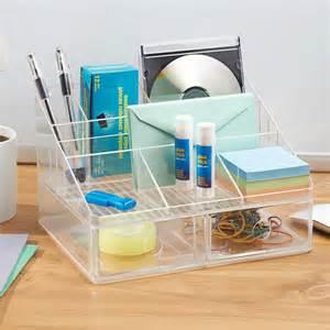 organiseur de bureau transparent 7 compartiments 2 tiroirs