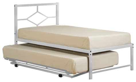 White Metal Trundle Bed Frame White Metal Size Day Bed With Pop Up Trundle Bed Beds By Pilaster Designs