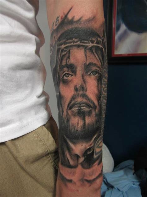 jesus tattoo using hand the hand of fate tattoo tattoos mathew delamort jesus