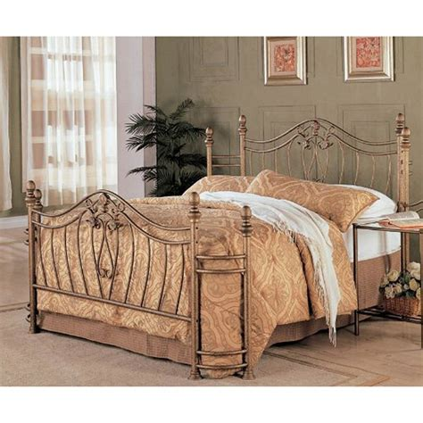 Antique Metal Headboard And Footboard size metal bed with headboard and footboard in antique brushed gold finish affordable