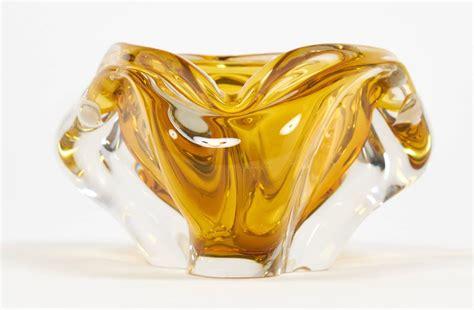 Murano Clear and Amber Handblown Glass Ashtray at 1stdibs