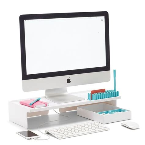 Stand At Desk White Monitor Riser White 40 Popping House Office