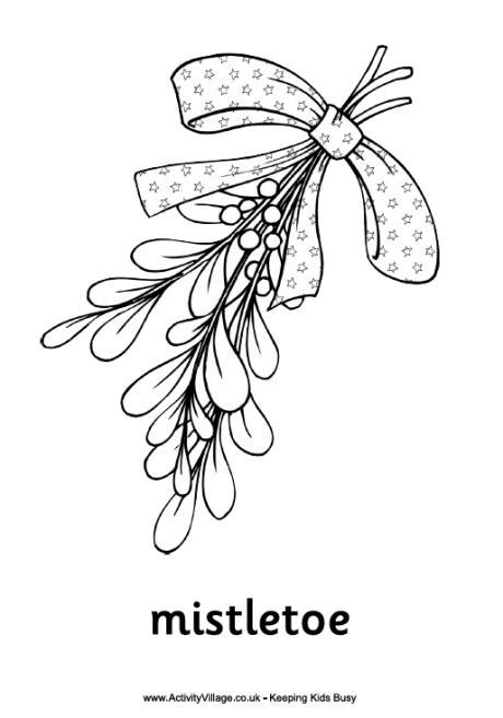 christmas mistletoe colouring page
