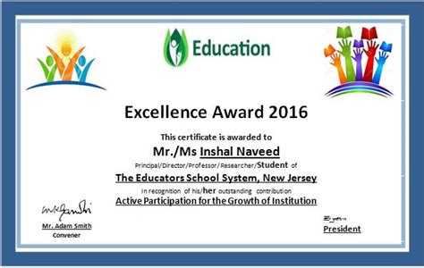 free educational certificate templates ms word education excellence award certificate template